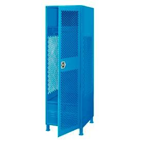Pucel All Welded Gear Locker With Door Foot Locker And Legs 24x18x72 Blue