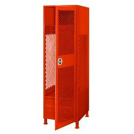 Pucel All Welded Gear Locker With Door Foot Locker And Legs 24x18x72 Red