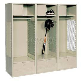 Pucel All Welded 3 Wide Gear Locker With Foot Locker Top Shelf Cabinet 24x18x72 Putty
