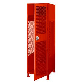 All Welded Gear Locker With Door And Legs 24x24x72 Red