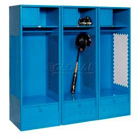All Welded 3 Wide Gear Locker With Foot Locker Top Shelf Cabinet 24x24x72 Blue