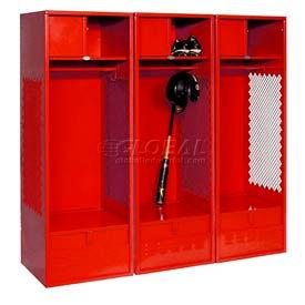 All Welded 3 Wide Gear Locker With Foot Locker Top Shelf Cabinet 24x24x72 Red