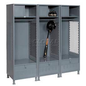 All Welded 3 Wide Gear Locker With Foot Locker Top Shelf Cabinet &Legs 24x24x72