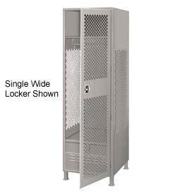 All Welded 3 Wide Gear Locker With Door Foot Locker And Legs 24x24x72 Gray