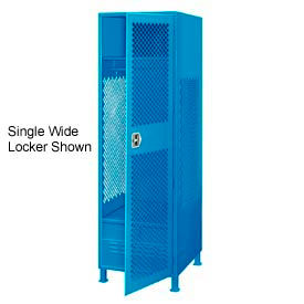 All Welded 3 Wide Gear Locker With Door Foot Locker And Legs 24x24x72 Blue
