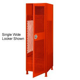 All Welded 3 Wide Gear Locker With Door Foot Locker And Legs 24x24x72 Red
