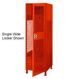 Pucel All Welded 3 Wide Gear Locker With Door Foot Locker And Legs 24x24x72 Red