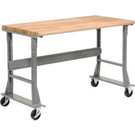 "60""W x 30""D Mobile Workbench - Maple Butcher Block Safety Edge - Gray"