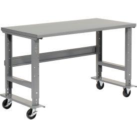 """72""""W x 30""""D Mobile Workbench - Steel - Gray"""
