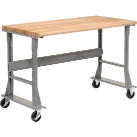 "60""W x 30""D Mobile Workbench - Shop Top Square Edge - Gray"