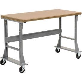 "72""W x 30""D Mobile Workbench - Shop Top Safety Edge - Gray"