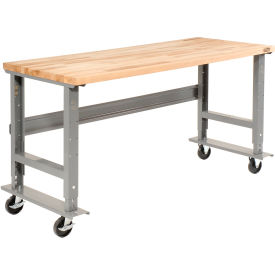 "48""W x 30""D Mobile Workbench - Maple Butcher Block Square Edge - Gray"
