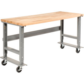 "60""W x 36""D Mobile Workbench - Maple Butcher Block Square Edge - Gray"