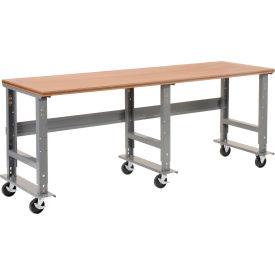 "96""W x 36""D Mobile Workbench - Shop Top Square Edge - Gray"
