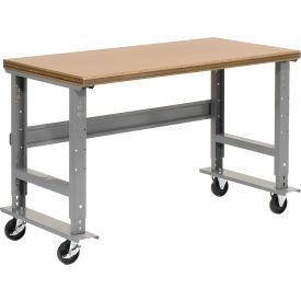 "72""W x 36""D Mobile Workbench - Shop Top Safety Edge - Gray"