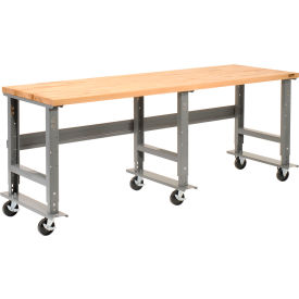 "96""W x 36""D Mobile Workbench - Maple Butcher Block Square Edge - Gray"
