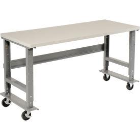 "72""W x 30""D Mobile Workbench - Plastic Laminate Square Edge - Gray"