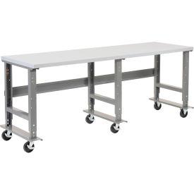 "96""W x 36""D Mobile Workbench - Plastic Laminate Square Edge - Gray"