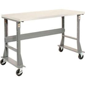 "60""W x 30""D Mobile Workbench - Plastic Laminate Square Edge - Gray"