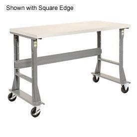 "60""W x 30""D Mobile Workbench - Plastic Laminate Safety Edge - Gray"