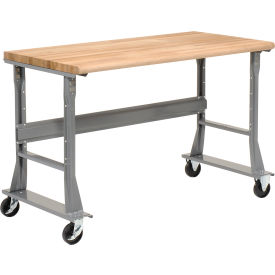 "72""W x 36""D Mobile Workbench - Maple Butcher Block Safety Edge- Gray"