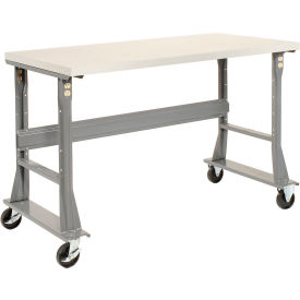 "72""W x 30""D Mobile Workbench - Plastic Laminate Safety Edge - Gray"