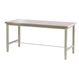 """72""""W x 30""""D Lab Bench - Stainless Steel Square Edge - Tan"""