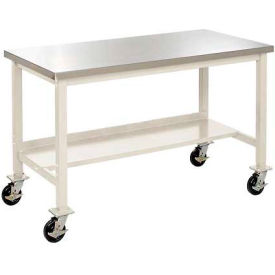 """60""""W X 30""""D Mobile Stainless Steel Square Edge Lab Bench - Tan"""