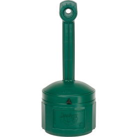 Justrite Smokers Cease Fire Cigarette Butt Receptacle 26800G, 4 Gallon Green