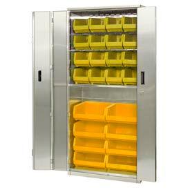 "Pucel Stainless Steel BiFold Door Cabinet BDSC-SS-3678-18 with 24 Yellow Bins 36""wx18""Dx78""H No Legs"