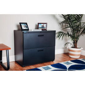 Interion™ 30= Lateral File Cabinet 2 Drawer Charcoal