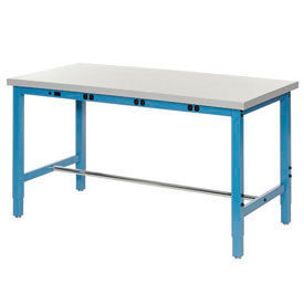 """60""""W x 30""""D Packaging Workbench with Power Apron - Plastic Laminate Square Edge -Blue"""