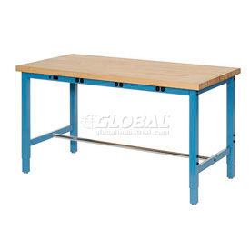 """60""""W x 30""""D Packaging Workbench with Power Apron - Maple Butcher Block Square Edge - Blue"""