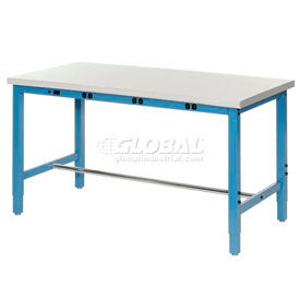 "60""W x 30""D Packaging Workbench with Power Apron - Plastic Laminate Safety Edge - Blue"