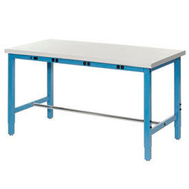 """72""""W x 30""""D Packaging Workbench with Power Apron - Plastic Laminate Safety Edge - Blue"""