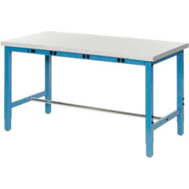 """72""""W x 30""""D Packaging Workbench with Power Apron - ESD Safety Edge - Blue"""