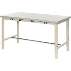"60""W x 24""D Lab Bench with Power Apron - Plastic Laminate Square Edge - Tan"