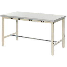 "60""W x 36""D Lab Bench with Power Apron - Plastic Laminate Square Edge - Tan"