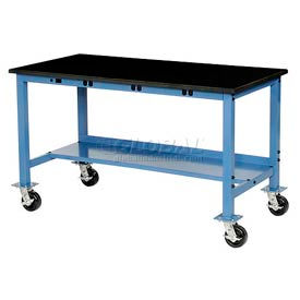 72X30 Phenolic Square Edge Mobile Power Apron Lab Bench-Blue
