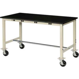 """72""""W X 30""""D Mobile Lab Bench with Power Apron - Phenolic Safety Edge - Tan"""