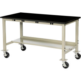 """72""""W X 36""""D Mobile Lab Bench with Power Apron - Phenolic Safety Edge - Tan"""