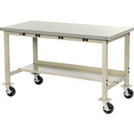 """72""""W X 30""""D Mobile Lab Bench with Power Apron - Stainless Steel Square Edge - Tan"""