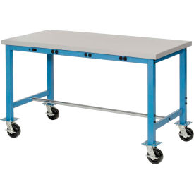 """72""""W x 24""""D Mobile Packaging Workbench with Power Apron - Plastic Laminate Square Edge - Blue"""