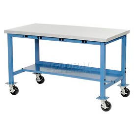"""72""""W x 30""""D Mobile Packaging Workbench with Power Apron - Plastic Laminate Square Edge - Blue"""
