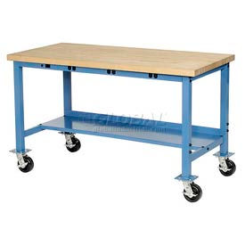 """60""""W x 30""""D Mobile Packaging Workbench with Power Apron - Maple Butcher Block Square Edge - Blue"""