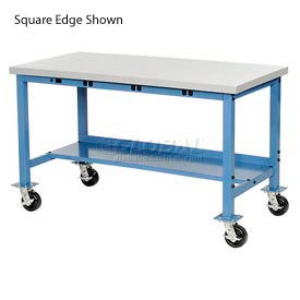 """72""""W x 30""""D Mobile Packaging Workbench with Power Apron - Plastic Laminate Safety Edge - Blue"""