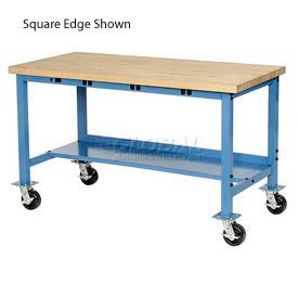 """60""""W x 30""""D Mobile Packaging Workbench with Power Apron - Maple Butcher Block Safety Edge - Blue"""