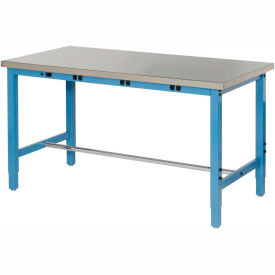 """72""""W x 30""""D Lab Bench with Power Apron - Stainless Steel Square Edge - Blue"""
