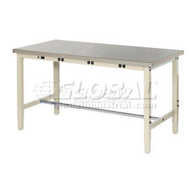 "60""W x 30""D Lab Bench with Power Apron - Stainless Steel Square Edge - Tan"