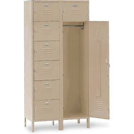 Penco 6575V073 Vanguard 7 Person Locker 36x21x72 Ready To Assemble Champagne